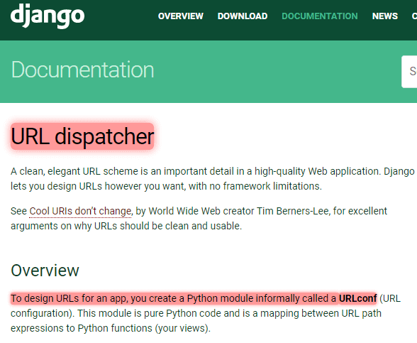 Django URL dispatcher