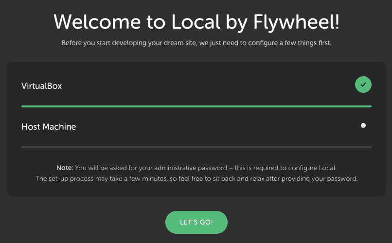 Big Sur Local by flywheelでvirtualboxエラー